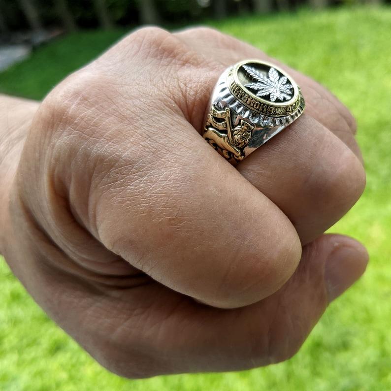 Marijuana Rings 925 Sterling Silver Canabis Leaf Ring by SterlingMalee