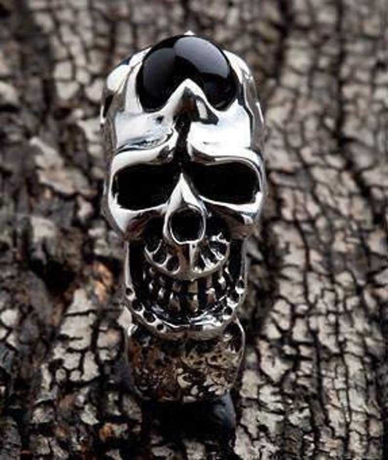 Black Onyx Men/'s Ring Silver Onyx Ring Skull Ring Skull Jewelry by SterlingMalee Sterling Silver Biker Ring