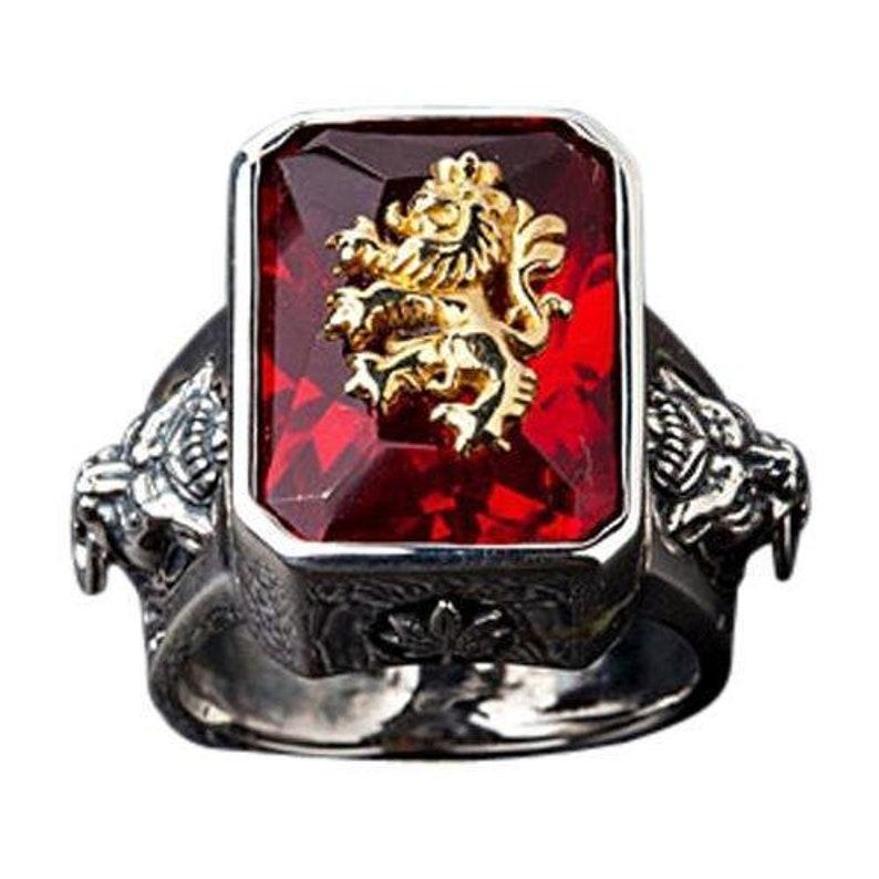 Silver Men's Ring Silver Lion Rings Rampant Ring image 0