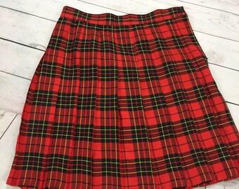 Vtg 1980's Huntington Ridge Plaid Pleated Skirt Sz 11/12 Red Black School Girl