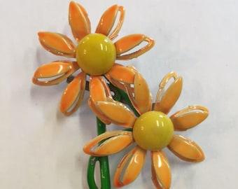 Vintage Enamel Daisy Brooch Bright Orange and Yellow Very 70's