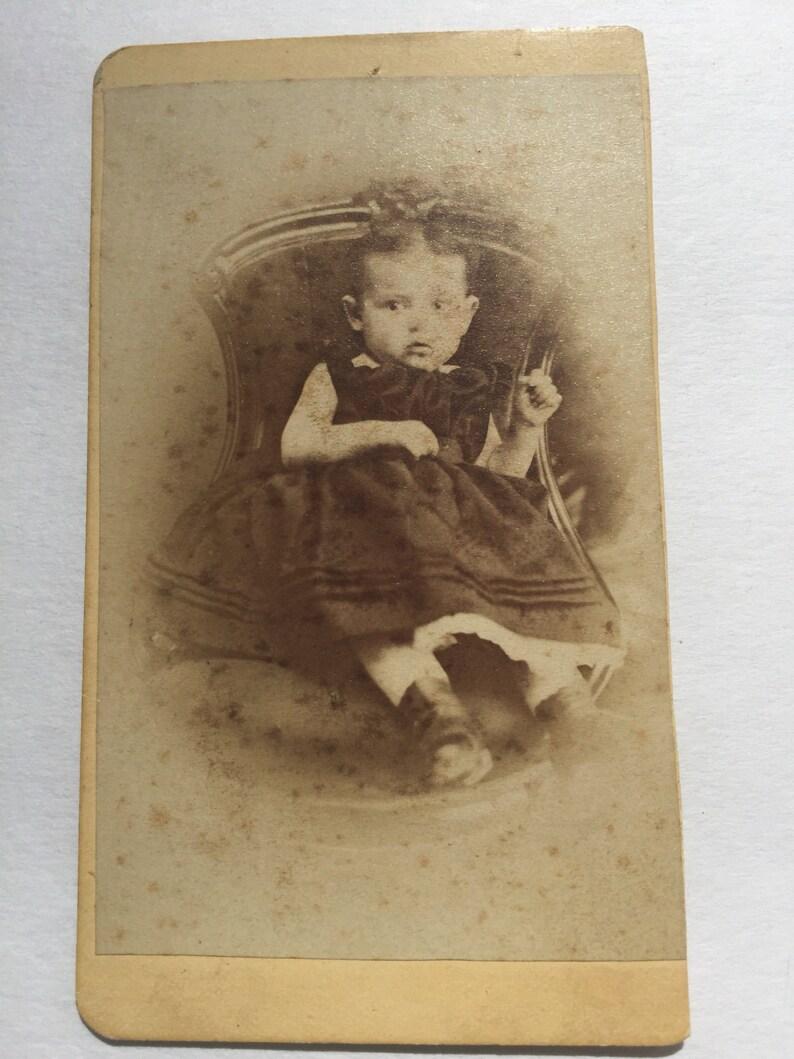 Antique Circa 1865 1875 Baby Girl Carte De Visite Photo