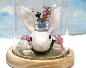 Alice in Wonderland white rabbit terrarium with rabbit ear cloche