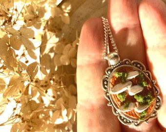 Oyster mushroom clay mossy necklace vintage bezel mushroom Oyster mushroom jewelry. A Mushroom/'s Story