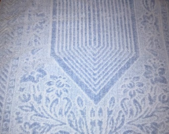 Vintage Baby Blue Floral Patterned Bath Towel Flowers
