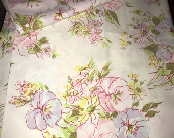 Vintage Full Flat Sheet and 2 standard Pillowcases floral pastel so pretty