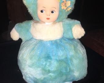 Vintage Plush Doll Turquoise