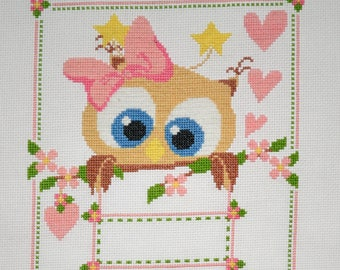 Owl Birth Record (Pink) - Finished Counted Cross Stitch - FREE Personalization