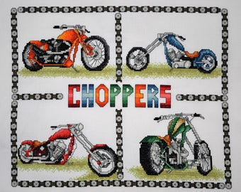 Choppers - Motorcyles - Finished Counted Cross Stitch