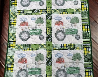 "Tractor Quilt with John Deere fabric surround - 40"" x 61""- FINISHED and Ready to Ship"