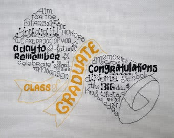 Let's Graduate - FINISHED Counted Cross Stitch - Free Personalization