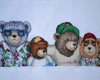 "Yo, Dude Bears Afghan - 45"" X 58"" -FINISHED Counted Cross Stitch"