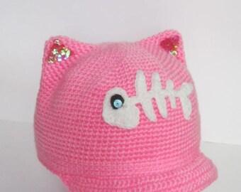 Newsboy Pink Ears Cat Hat Pussyhat Cap Kitty Brim Pussycat Visor Kids Pussy