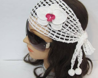 Women Lace Summer Headband, Boho Women Head Wrap, White Lace Head scarf Wide Headband, Wedding Hairband, Wite lace hair cover