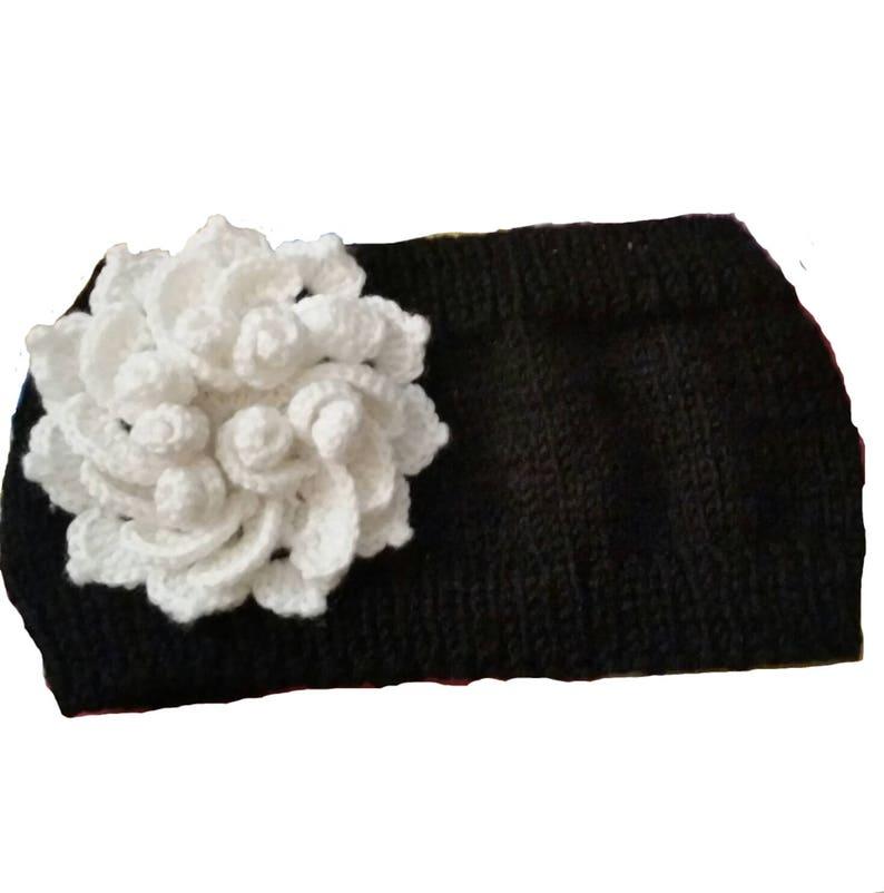 Knit Headwrap Winter Headband Knitted Ear Warmer Red Flower Ear Warmers Headband Knit Winter Ear Warmer Knit Red Flower Headband