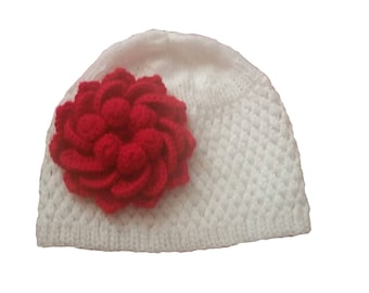 White and Red Baby Beanie Hat, Knit Baby Girl Red Flower Hat Beanie, Toddler Girl Flower Hat,  Red Flower Girls Beanie, Baby Hat with flower