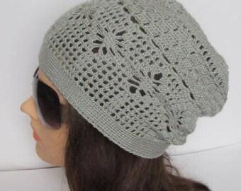 Gray Slouchy Beanie Hat, Spring Slouchy Hat Beanie, Crochet Women Sun Slouchy Hats Gray Summer Slouchy Hat, Teens Slouchy Beanie Hat