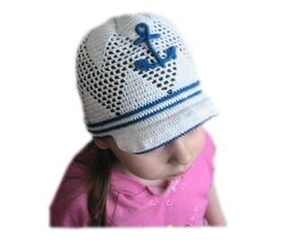 Newsboy Nautical Anchor Hat, Nautical Boy Sun Hat Anchor Newsboy Caps Sailor Cap, Nautical Newsboy Hat, Boy Brim Hat, White Anchor Hat