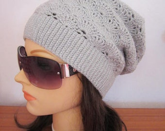 Slouchy Beanie Hat Slouchy Beanie Winter Women Hat Knit Slouchy Beanie Unique Slouchy Hat Crochet Slouch Hats Grey Silver Knitted