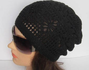 Slouchy Beanie Sun Hat, Summer Slouchy Beanie, Women Summer Slouchy Beanie, Women Spring Hat, Boho Style Sun Hat Women Summer Cotton Hat