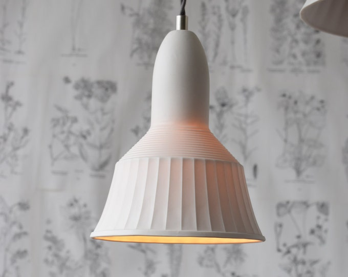 Veda Porcelain Pendant Light, Modern Lighting Design, Translucent Porcelain Lighting, White Ceramic Light, White Pendant Light