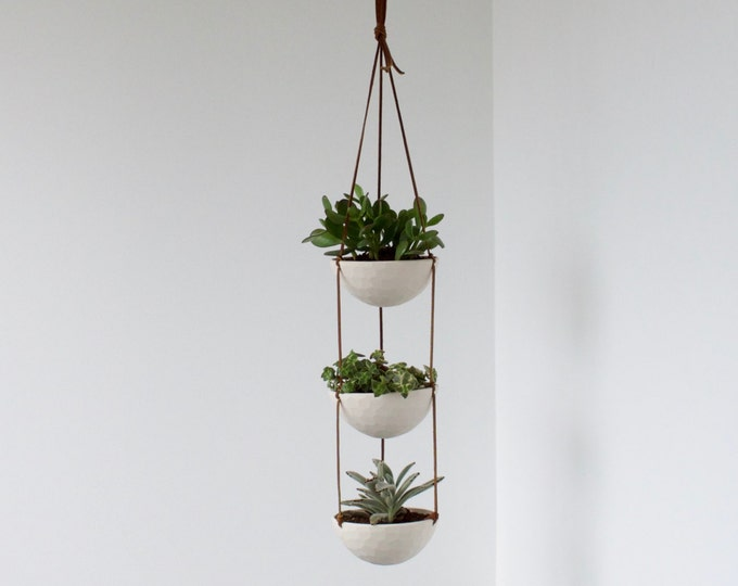 3 Tier Hanging Succulent Planter, Geometric Faceted or Smooth finish, choose Hemp or Leather Cording
