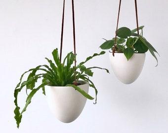 Hanging Bullet Planter, Size Small or Medium, Ceramic Porcelain Planter