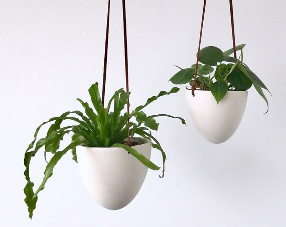 Hanging Bullet Planter, Size Small or Medium, Ceramic Porcelain Planter