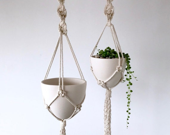 Hanging Bullet Planter in Macrame Hanger, Size Small or Medium, Ceramic Porcelain Planter