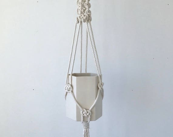 Jules Hexagon Pot Planter with Macrame Cotton Cord
