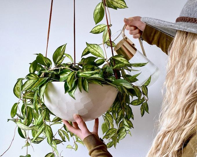 Hanging Ceramic Planter Basket, Large Hanging Porcelain Planter, Choose your Cording