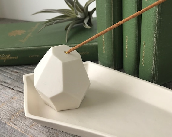 Porcelain Incense Holder, Modern Geometric Indoor or Outdoor Design
