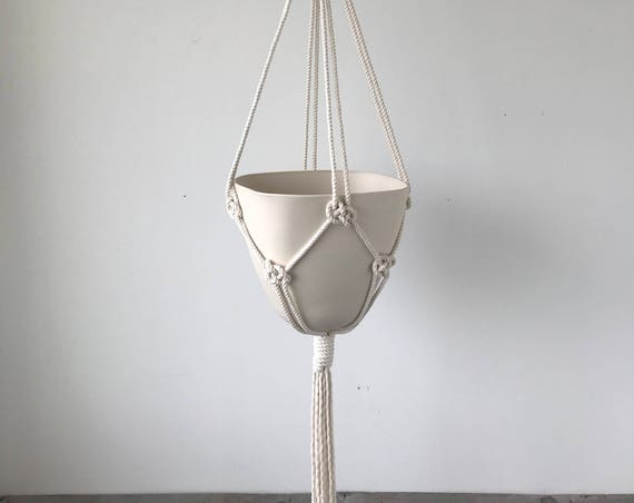 Amal Macrame Ceramic Planter, Square Top Bullet Planter, Includes both Porcelain Pot and Macrame Cotton Hanger
