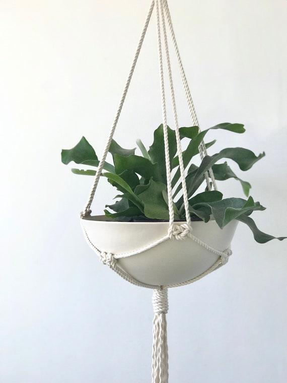 Dahlia Large Hanging Planter, Includes both Porcelain Bowl and Macrame Cotton Hanger