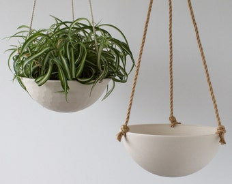 Large Hanging Planter, Ceramic Porcelain Basket with Jute or Cotton Cord, Hand Carved Geometric or Smooth Finish