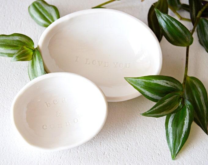 Hand Stamped Nesting Bowls, Personalized Vintage Stamped Ring Bowl, Custom Gift, White Ceramic Trinket Dish