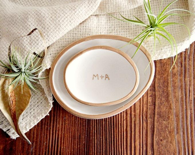 Custom White Ring Bowls, Nesting Ceramic Trinket Dishes