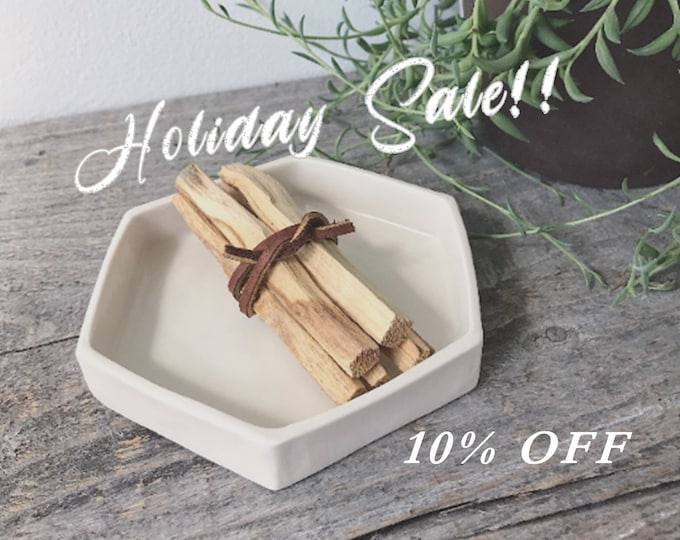 HOLIDAY SALE - Palo Santo Tray, Palo Santo Sticks with Tray, Hexagon Incense Tray, White Hexagon Tray, Palo Santo Set