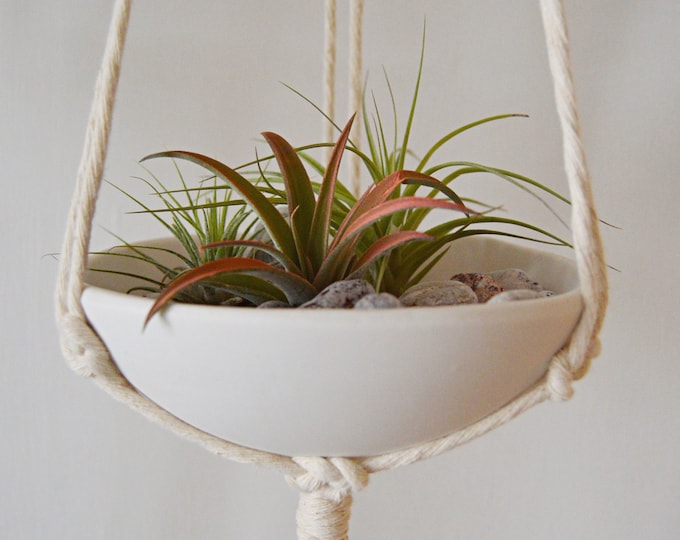Shallow Hanging Macrame Planter, Small White Air Plant or Succulent Planter