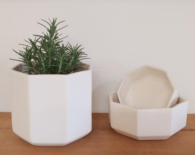 Octagon Planter, Tall Ceramic Planter, White Ceramic Planter, Geometric Planter, Porcelain Octagon Planter, Short Planter, Tabletop Planter
