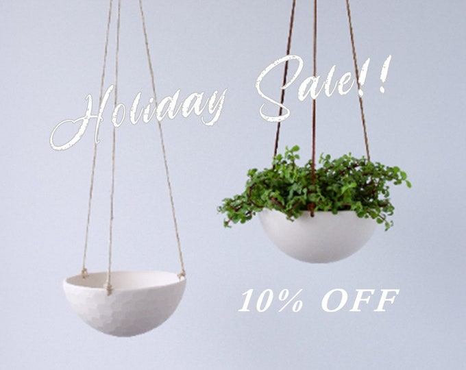 HOLIDAY SALE - Medium Hanging Planter, Porcelain Ceramic, Geometric Faceted or Smooth finish, choose  your Cording