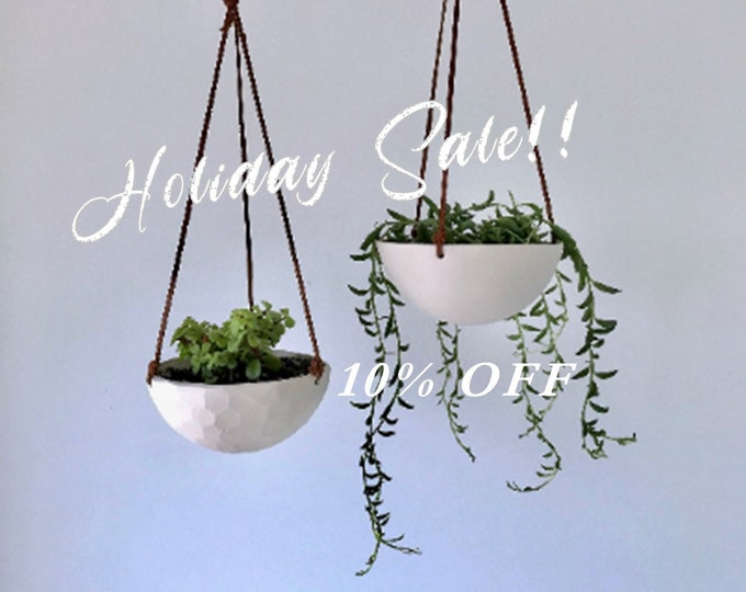 HOLIDAY SALE - Small Hanging Planter, White Ceramic Hanging Planter, Small Hanging Planter, Geo Carved or Smooth Texture