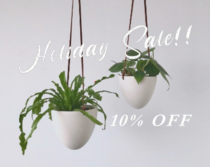 HOLIDAY SALE - Hanging Bullet Planter, Size Small or Medium, Ceramic Porcelain Planter, Small Hanging Planter, Medium Hanging Planter