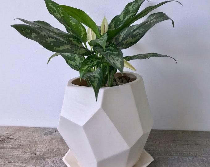 Geo Planter, Geometric Faceted Planter, Ceramic, Modern Planter Design