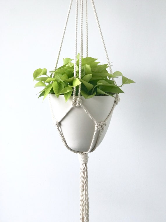 Amal Bullet Hanging Planter, Porcelain Pot and Macrame Hanger