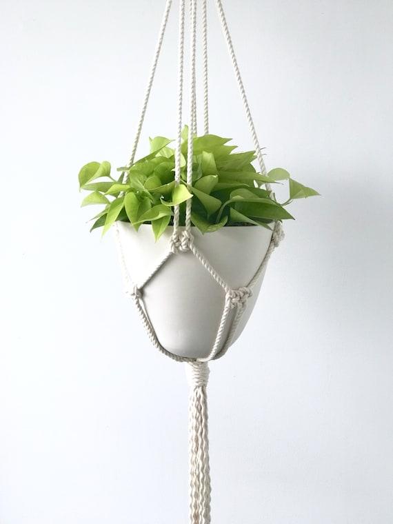 Amal Bullet Hanging Planter, Porcelain Pot and Macrame Hanger