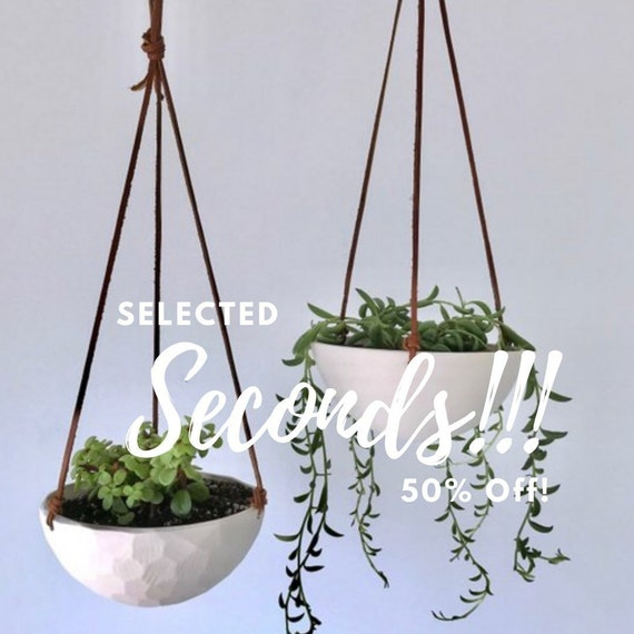 Porcelain Hanging Planter, Size Small Geometric Carved or Smooth Texture, with or without drainage