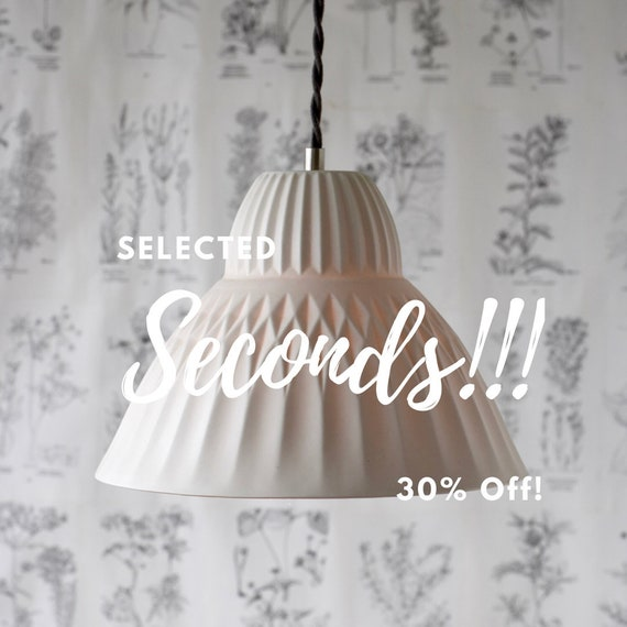 SECONDS Sofia Porcelain Pendant Light, Modern Lighting Design, Translucent Porcelain Lighting
