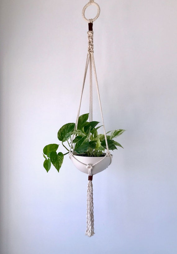Medium Macrame Ceramic Planter, Includes both Porcelain Pot and Macrame Cotton and Leather Plant Hanger