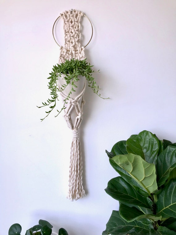 Mila Wall Hanging Planter, Includes both Porcelain Ceramic Cone Planter and Macrame Cotton Hanger